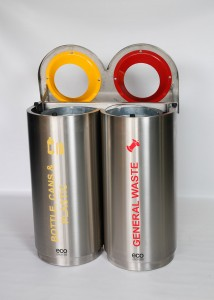 Double 98 Litre Stainless Steel Colour Coded Recyclers