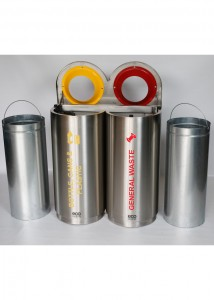 Double Stainless Steel Colour Coded Recyclers With Liners