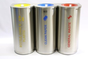 Triple Stainless Steel Colour Coded Recyclers