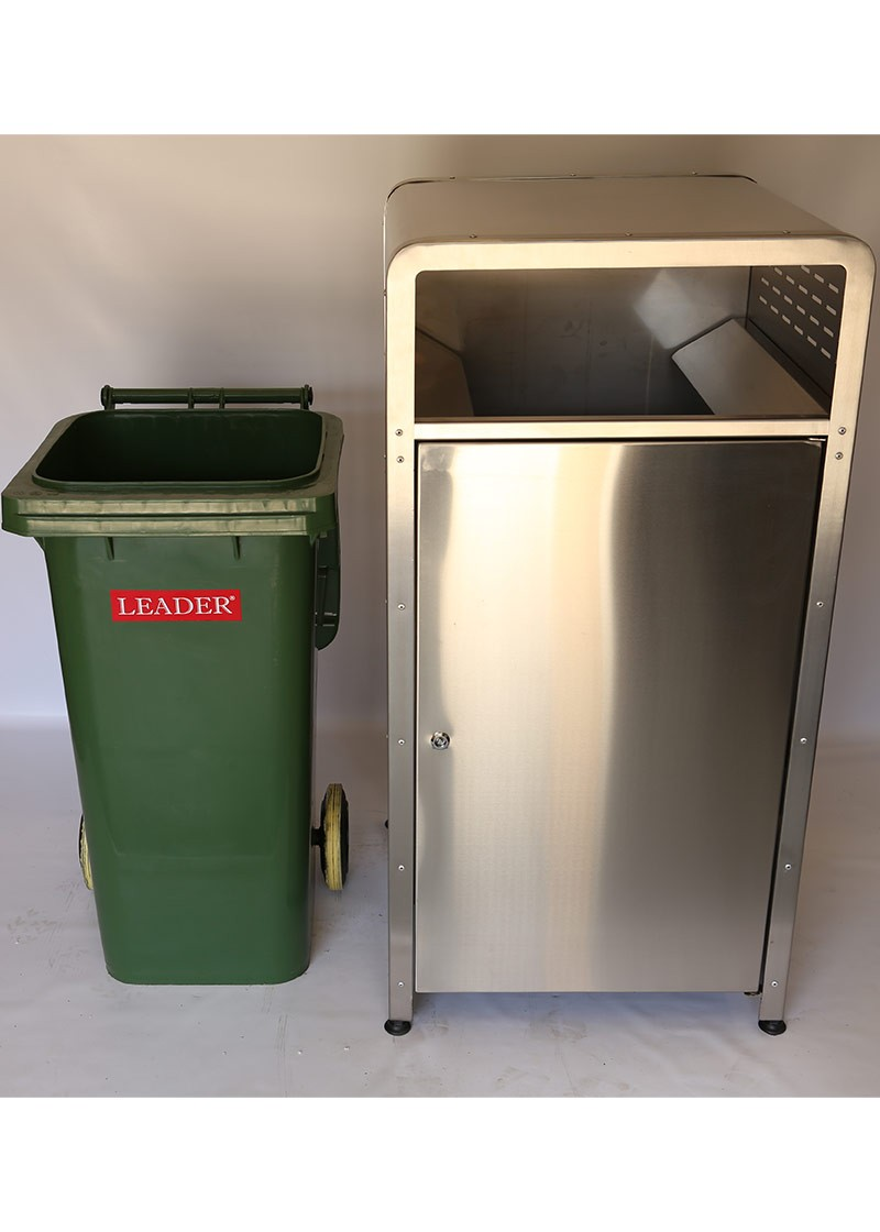 Stainless Steel Classic Wheelie Bin Enclosure Rb 121405s on lockable trash bin