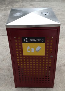 Public Recycle Bin With Two Openings and Lock