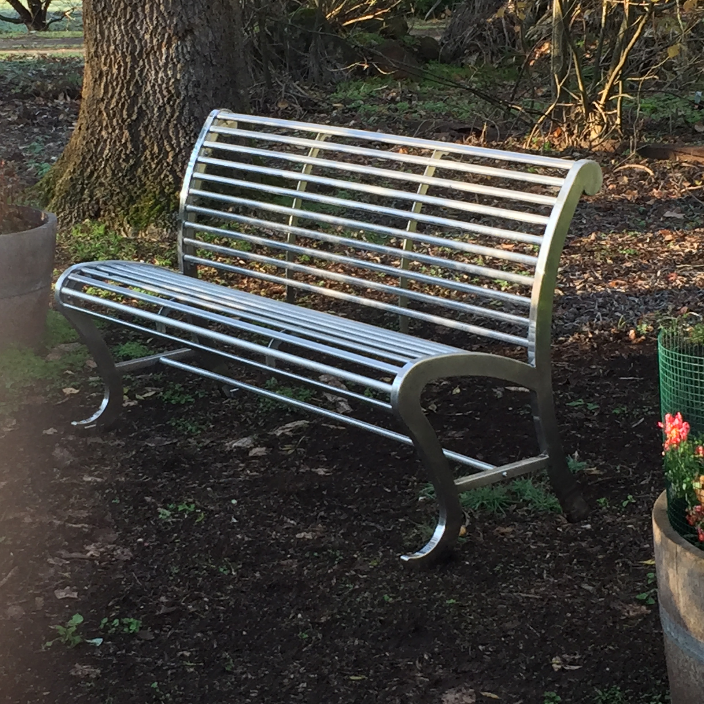 stainless steel park benches 1550mm l x 651 mm w x 893 mm h | eco