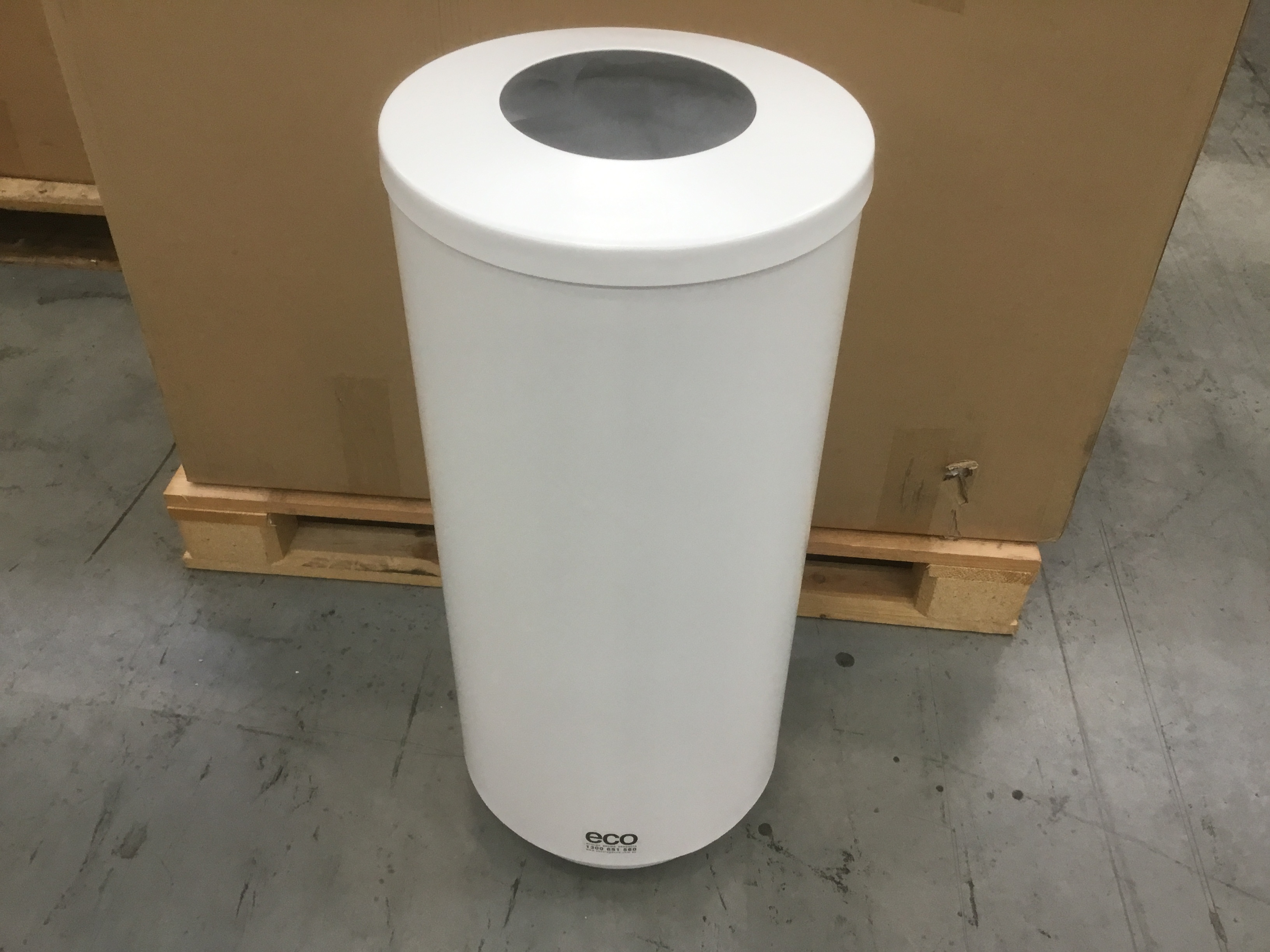 70L White Stainless Steel Waste Bin